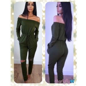 Other - Brand new olive off the shoulders jumpsuit